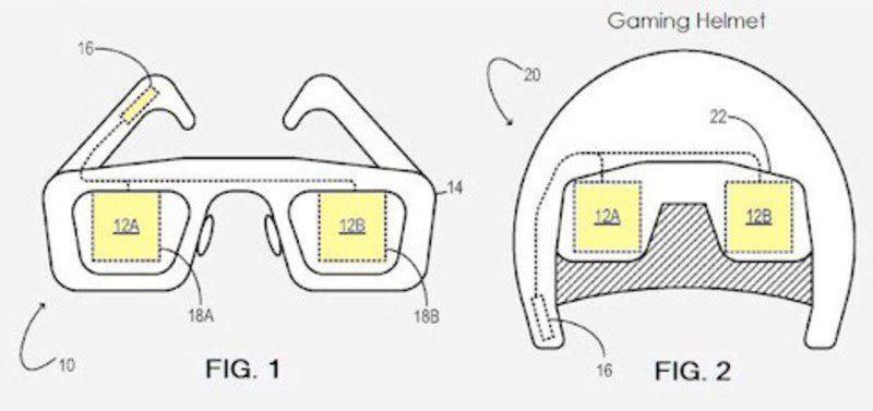 Patente de las gafas y el casco de realidad virtual de Microsoft